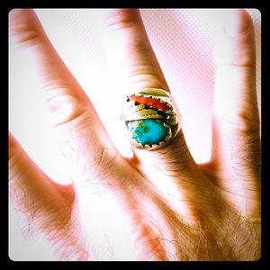 Vintage Sterling Native Coral & Turquoise Ring